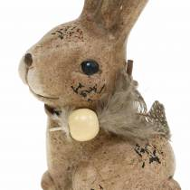 Dekofiguren Hasen mit Feder und Holzperle Braun sortiert 7cm x 4,9cm H 10cm 2St