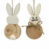 Osterhase zum Hängen Creme, Natur Holz Sortiert H10,5cm 8St