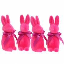 Hase beflockt Pink 16cm 4St