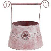 Henkeltopf Rosa gewaschen mit Rose Ø22cm H13,5cm