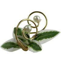 Hochzeitsanstecker mit Perlen, Gold 8cm 24St