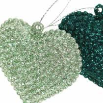 Glitterherz-Set zum Hängen Smaragd, Eisblau 6cm x 6,5cm 12St