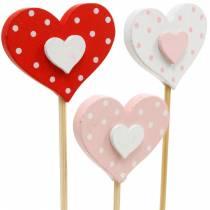 Dekostecker Herz, Hochzeitsdeko, Blumendeko für Valentinstag, Herzdeko 24St