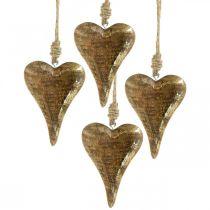 Holzherzen mit Golddekor, Mangoholz, Deko-Anhänger 10cm × 7cm 8St