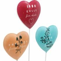 Herzstecker zum Dekorieren, Dekostecker Geburtstag Valentinstag Beste Freunde, Herzdeko aus Metall 9St