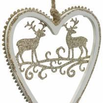 Herzen zum Hängen mit Intarsie Holz, Kunststoff Weiß, Golden, Ø9,2cm H12cm 4St
