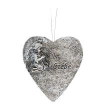 Herzen Grau mit Text 10,5cm 4St