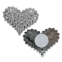Herzen Silber mit Klebepunkt 5,5cm 12St