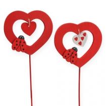 Blumenstecker Herz Rot 7cm 24St