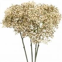Künstlicher Holunder Creme Weiß Deko-Blütenzweig 52cm 4St