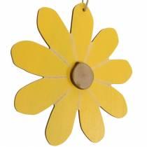 Holz-Blüten zum Hängen, Frühlings-Deko, Blumen aus Holz Gelb und Weiß, Sommerblumen 8St