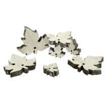 Holz Ahornblätter Mix weiß gewaschen 30St