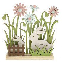 Holzaufsteller Hasen mit Blumen 16,5cm