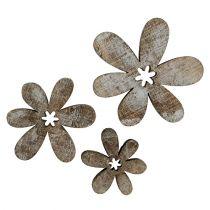 Holzblumen 3-5cm Natur-Weiß 22St