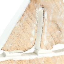 Deko Boot aus Mangoholz Natur, Weiß 21cm x 18cm