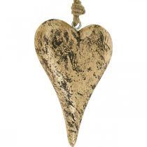 Herz zum Hängen Holz Golden Vintage-Hänger 15cm
