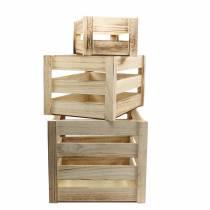 Holzkiste Natur Braun 43,5cm/37,7cm/31,8cm 3er-Set