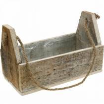 Holzkiste zum Bepflanzen, Werkzeugkiste, Pflanzkasten mit Henkel, Holzdeko 30cm