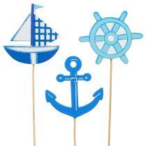 Holzstecker maritim Blau 9St