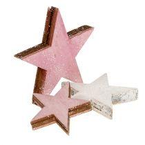 Holzstern 3-5cm Pink/Weiß mit Glitter 24St