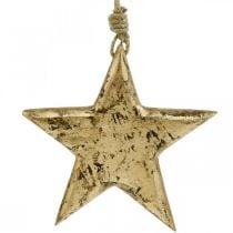 Stern zum Hängen, Holzdeko mit Gold-Effekt, Advent 14cm × 14cm