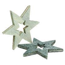 Holzsterne 4cm Grau mit Glitter 72St