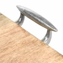 Holztablett mit Griffen Mango, Metall Natur, Silbern 46×25cm