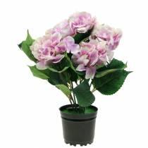 Seidenblumen Hortensie im Topf Fliederfarben 35cm