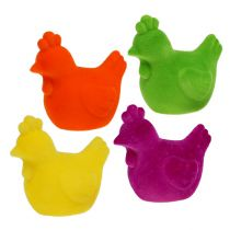 Huhn beflockt Osterfiguren Tischdeko Ostern Bunt 8St