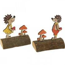 Igel mit Pilzen, Herbstfigur, Holzigel-Paar Gelb/Orange H11cm L10/10,5cm 2er-Set