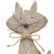 Holzfigur Katze Natur, Weiß 37cm