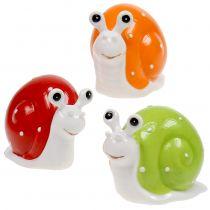 Keramikschnecke 6,5cm - 7,5cm Grün, Orange, Rot 6St