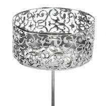 Florale Kerzenhalter zum Stecken Silbern Ø8,8cm H13,7cm 4St Antik-Optik