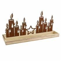 Holz-Tablett Kerzensilhouette Edelrost 50cm × 17cm