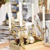 Kerzenständer für Kerzentablett Champagner Metall 37×17×18cm