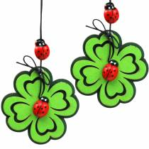 Kleeblatt mit Käfer zum Hängen Grün 7cm 6St