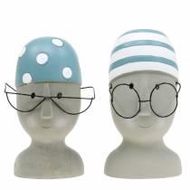 Deko-Kopf Schwimmer mit Brille und Badehaube Blau Weiß H15cm/16cm 2St