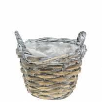 Korb Weidenkorb grau weiß Ø15,5cm hoch 10cm mit Henkel