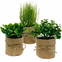 Kräuter im Topf Künstliche Küchenkräuter Schnittlauch, Basilikum und Salat 3St