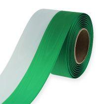 Kranzbänder Moiré grün-weiß 75mm 25m
