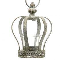 Krone mit Teelichthalter Grau Ø13cm H17cm