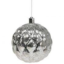 Kugel Plastik Silber Ø15cm LED für Batterien