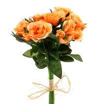 Kunstblumen Rosenstrauß orange L26cm 3St