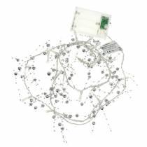 LED Lichterkette Perlengirlande Silber Warmweiß L120cm