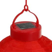 Lampion LED mit Solar 20cm Rot