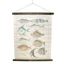 Deko Rollbild aus Leinen mit Fischen 60cm x 72cm