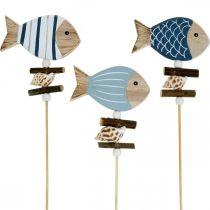 Maritime Dekostecker, Fische und Muscheln am Stab, Meeresdeko, Holzfische 6St