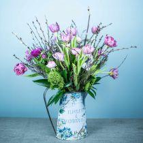 Blumenvase Kanne Blumen Blau, Grün Gartendeko Pflanzkübel Metall 23cm