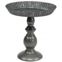 Metall-Schale Grau mit Fuß Ø19,5cm H21cm