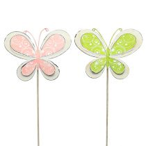 Metall-Stecker Schmetterling Grün, Rosa 52cm 2St